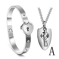 c46b6a15cf AOLVO Set Collana Bracciale Coppia 2 Pezzi Chiave della Collana Braccialetto  Forma di Cuore Regalo di Compleanno San Valentino Argento