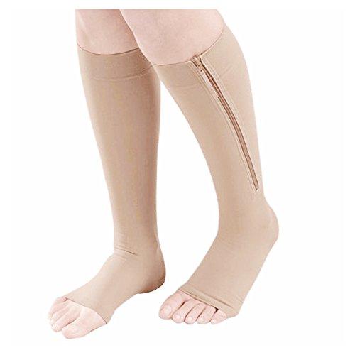 Medias - SODIAL(R)Calcetines para aumentar la circulacion y compresion de rodilla medias de pata de apoyo Beige M
