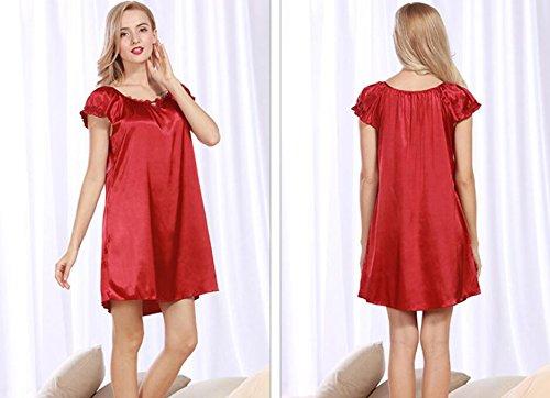 LJ&L Nuova estate casuale di simulazione di seta a maniche corte vestito letto delle signore di estate grandi pigiama confortevoli,red,one size Red wine