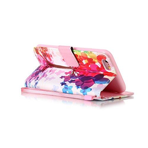 HB-Int 3 en 1 PU Cuir Housse Etui pour Apple iPhone 6 / iPhone 6S (4.7 pouces) Élégant Motif Coque Protecteur Stand Fonction Couverture Flip Wallet avec Lanyard Cover Case Card Slots Book Style Coque  Arbre