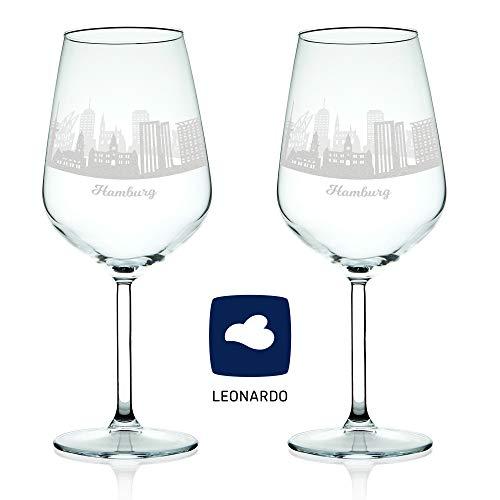 Leonardo Verre à vin avec gravure – Horizon d'Hambourg en kit – Cadeau Pour exigeants & vin genießer – Souvenirs de souvenirs Ville mitbringsel – Cadeau d'anniversaire Cadeau de Noël