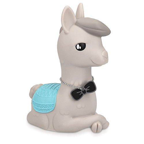 Navaris Lámpara LED para niños - Iluminación infantil con diseño animal - Alpaca con pilas y temporizador - Luz nocturna de colores gris y azul