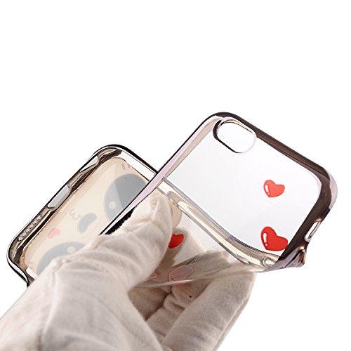 Apple iPhone 7 4.7 Hülle, Voguecase Schutzhülle / Case / Cover / Hülle / TPU Gel Skin (Bunt Herzen 08) + Gratis Universal Eingabestift Liebebär 04