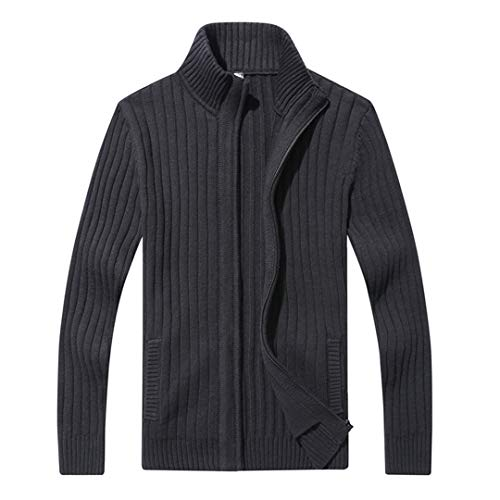 WAOSHANES Mens Cardigan Sweater Berühmte Kleidung Slim Fit Zipper Sweater Top Qualität Cotton Black XXXL