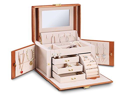 vlando Kunstleder Schmuck Box Organizer mit Spiegel Halskette Ring Aufbewahrung Fall Geburtstag Geschenk Hochzeit Geschenk, gold, Golden-cross pattern (Kunstleder Cross)