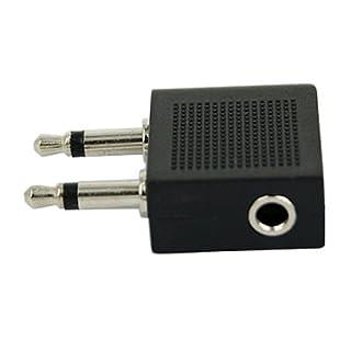 Ein-szcxtop Airline Netzteil Sitz Kopfhörer - dualen Mono 3,5 mm auf 3,5 mm Stereo Buchse silber