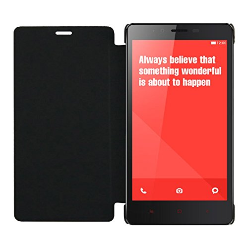 Acm Leather Diary Folio Flip Flap Case For Xiaomi Redmi Note 4G Mobile Front & Back Cover Black  available at amazon for Rs.179