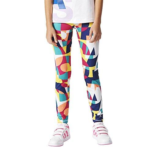 adidas Mädchen Leggings YG W F Tights, Rot/Gelb/Weiß, 152, 4055343962634