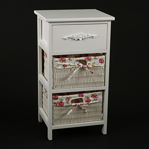 DECOMANIA - Schränkchen mit 1 Schublade mit Zier-Griff und 2 Körbchen - Stil: Shabby-romantisch - Farbe WEIß