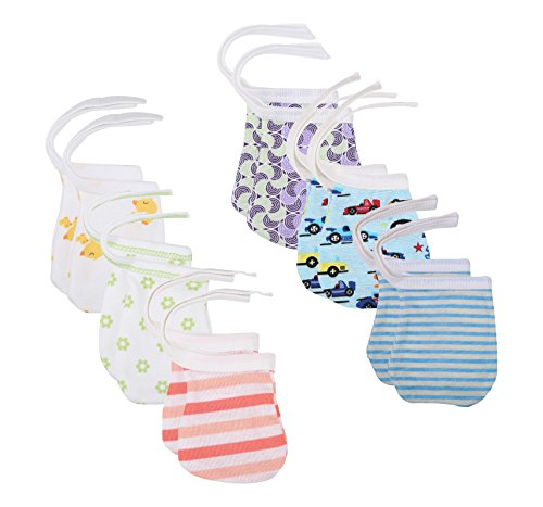 FARETO Baby Boy's and Girl's Cotton Mitten (Multicolour, 6-9 Months) - Set of 12