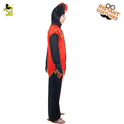 Beliebte Kostüm Männliche - GAOGUAIG AA Beliebte männliche Hofnarr Clown Kostüm Rolle spielen Halloween Party rot & schwarz Outfit Kostüm Cosplay Clown Kostüme SD (Color : Onecolor, Size : Onesize)