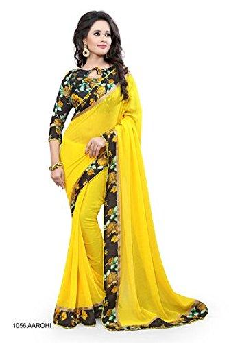 Vivan Trendz Chiffon Saree With Blouse Piece (Jalwa Sky_Yellow_Free Size)