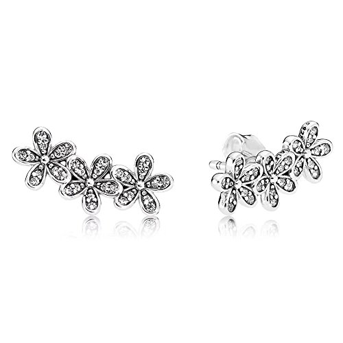 Stonebeads Glanzvolle Gänseblümchen Ohrstecker-Sterling Silber