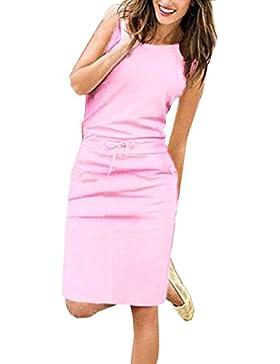 Mujer Sin Mangas Cuello Redondo Lápiz Vestido de Playa Por la Beachwear Trajes de vestir Rodilla Vestidos de Partido