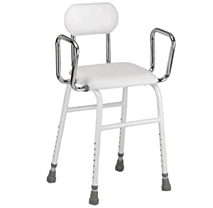 Multi use Perching Stool - adjustable height, removeable armrests and padded seat and back