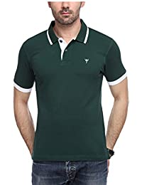 Yukth Mens Half Sleeve Tipping Polo T-Shirt Bottle Green