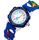 Kinderuhr Vinmori,Kinder Armbanduhr für Jungen Mädchen, 3D Zeit Lehrer Kleinkind Cartoon Armbanduhr, Cartoon Kämpfer Muster Silikon Band wasserdicht Quarzuhr, Kinder (blau)