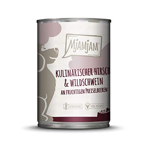MjAMjAM - Premium Nassfutter für Hunde - kulinarischer Hirsch & Wildschwein an Preiselbeeren, 6er Pack (6 x 400 g), getreidefrei mit extra viel Fleisch