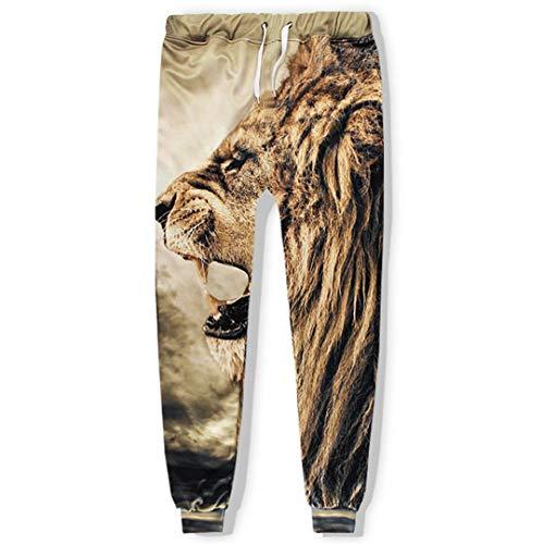 Vieryyes MäNner/Frauen Mit Kapuze Sets 3D Sweatshirts Print Lion 3D Hoodies Hoody Pants TrainingsanzüGe Only Pant ()
