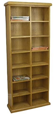OAKLAND - CHUNKY OAK CD / DVD STORAGE UNIT TALL WIDE DOUBLE RACK TOWER SOLID WOOD