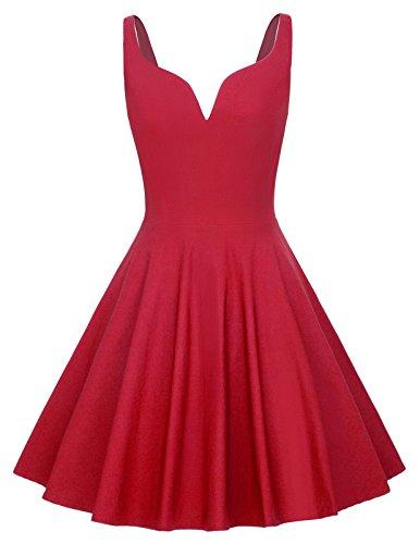 GRACE KARIN Robe de Bal Col V Profond Vintage Pin-up 50's Rockabilly Robe Plissee sans Manche Retro Rouge S CLAF060-2