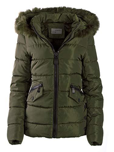 Fell Kapuzen Mantel (S'West Gesteppte Damen Winter WARME Jacke Mantel Kapuze MIT Fell ABNEHMBAR, Größe:M, Farbe:Army Grün)