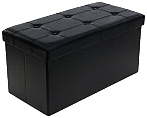 Songmics 76 x 38 x 38 cm Pouf Coffre de Rangement Pliable Chargement max. de 300 kg Noir LSF105