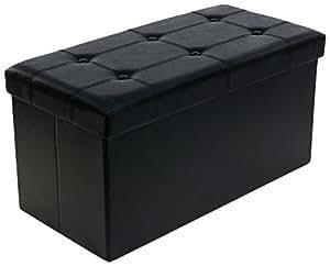 Songmics LSF105 Faltbarer Sitzhocker Belastbar bis 300 kg, Lederimitat, schwarz, 76 x 38 x 38 cm
