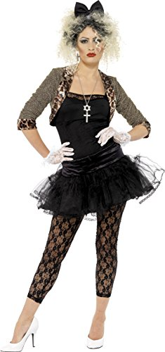 80er Wildes Kind Damenkostüm Schwarz mit Jacke Oberteil Tutu Leggings Handschuhen und Haarband, (Girl Material Kostüme)