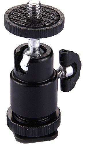 Blitzschuh Aluminium Kugelkopf Stativ mit ¼ Zoll Außengewinde | 360° Metall Mini-Kugelkopf | Hot-Shoe Montage | Blitzschuh-Adapter |...