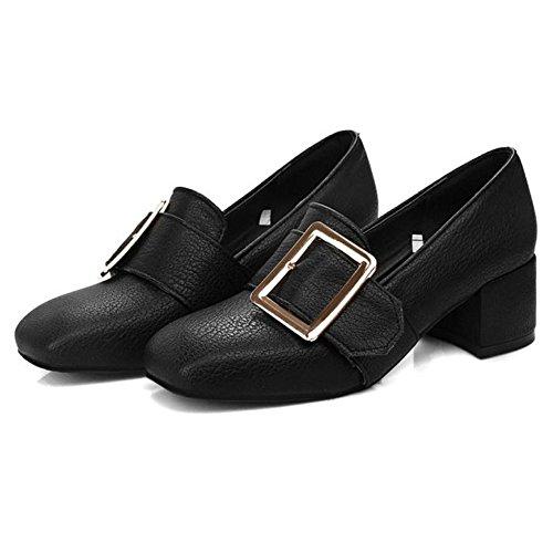 TAOFFEN Femmes Escarpins Classique Bloc Talons Moyen A Enfiler Chaussures De Boucle Noir