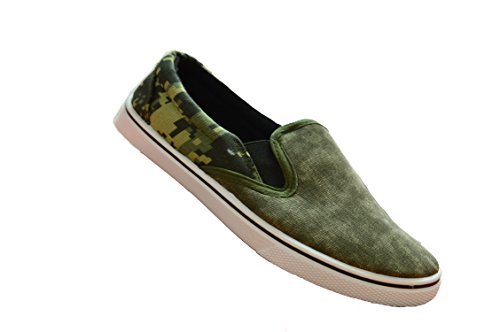 NEW BOYS CASUAL GYM SPORTS SUMMER TRAINERS PUMPS SLIPON PLIMSOLLS SHOES (UK2, Khaki)