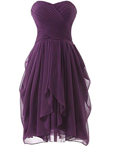 HUINI Strapless Brautjungfer Kleider kurz Chiffon Abendkleid mit Falte besetzt Ballkleid Grape Size 44