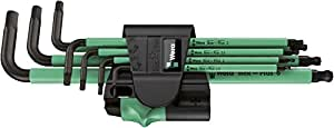 Wera 050225338001 Hex-Plus Hex Key Set 950 SPKL/7 High Torque with Ball-end and Magnetiser, Metric Long 1.5 mm-6.0 mm, 7-Piece