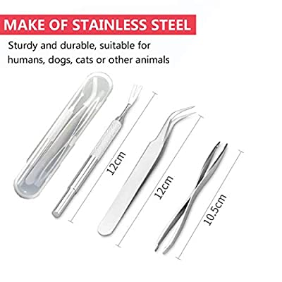 XUNKE Tick Remover, Tick Tweezers with 3 Set of Stainless Steel Professional Quality - Easy Remove Ticks -Safe Tick Hooks for Humans, Dogs, Cats from XUNKE