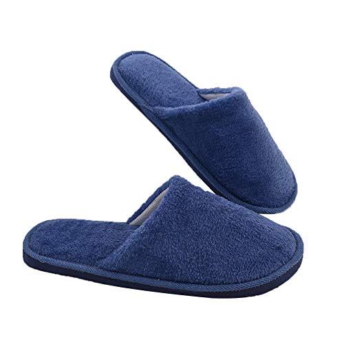 Vommpe Hausschuhe Baumwolle Home Innenbereich Schuhe Rutschfeste Wärme Soft Sole Pantoffeln Flache Hausschuhe Haus Slipper-Navy L