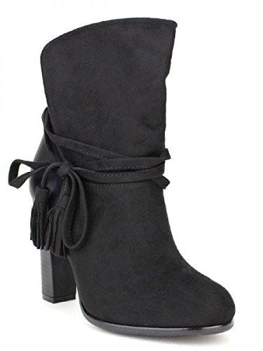 Cendriyon, Bottine Noire simili peau COLLS MODE Chaussures Femme Noir