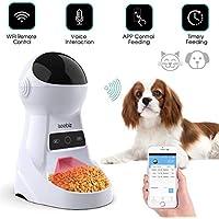 Iseebiz Comedero Automatico Gatos con WiFi 3 Litro Comedero Perro Tiene 8 Comidas con Recordatorio por Voz y Temporizador Fuciona con el Enchufe o la Pila