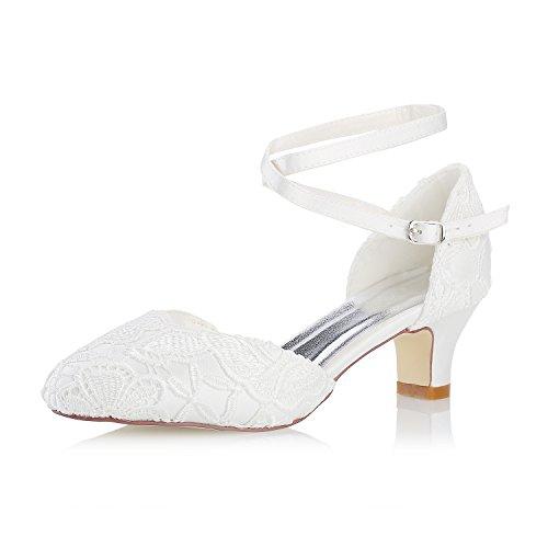 Mrs white 3421-5 scarpe da sposa donna raso pizzo punta chiusa pompe scarpe col tacco donna, 38 eu