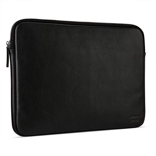 StilGut Sleeve Bellevue, Sleeve aus echtem Nappa-Leder mit Innenfächern & Reißverschluss für Notebooks bis 13