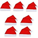 OTE Pack Of 7 Christmas Hats, Santa Claus Caps For Kids And Adults, Free Size, XMAS Caps