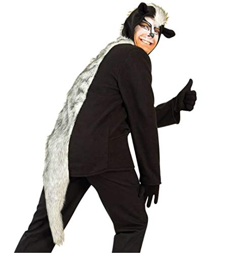 KarnevalsTeufel Erwachsenenkostüm Skunk Oberteil in schwarz mit Kapuze, Ohren und Schwanz Stinktier Stinkdachs Tier Verkleidung (Large)