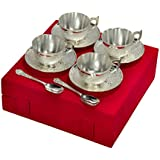 Handicraft Hub India Silver Plated Decorative Traditional Gift Tea Cup With Saucer Set Of 12 Pcs With Velvet Box