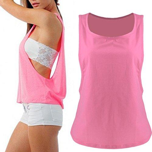 Maillot T-shirt Sans Manches Femmes Sport Entraînement Physique Gilet de Yoga Jogging Rose