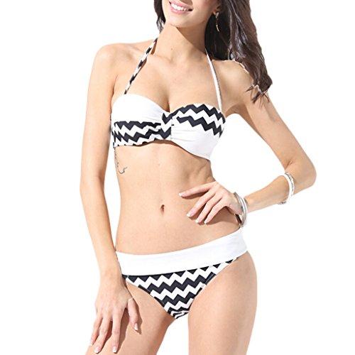 vlunt Sexy pour femme Maillots de bain maillot de bain bikini de bain Noir - Noir