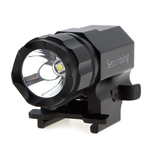 SecurityIng -  Proyector de 600lm, linterna de led Cree. Luz estroboscópica, pistola 2modos de pistola, linterna de cambio rápido, montaje para senderismo, camping, caza y otras actividades de interior o al aire libre