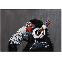 Raybre Art® 60 x 90 cm 100% Pintados a mano Cuadros en Lienzo al óleo - Cuadros Abstracto Modernos Animales Grandes - Orangután Mono Disfruta de la música con auriculares - Arte Decoracion de paredes hogar, Sin marco