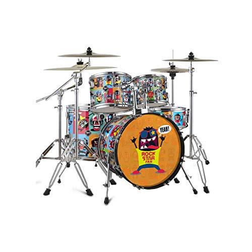 HXGL-Trommel Erwachsenes Selbststudium Schlagzeug Kinder Anfänger Einführung Test Jazz Drum Cartoon Pattern (Farbe : Rock)
