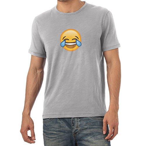 TEXLAB - Tears of Joy Emoji - Herren T-Shirt Grau Meliert