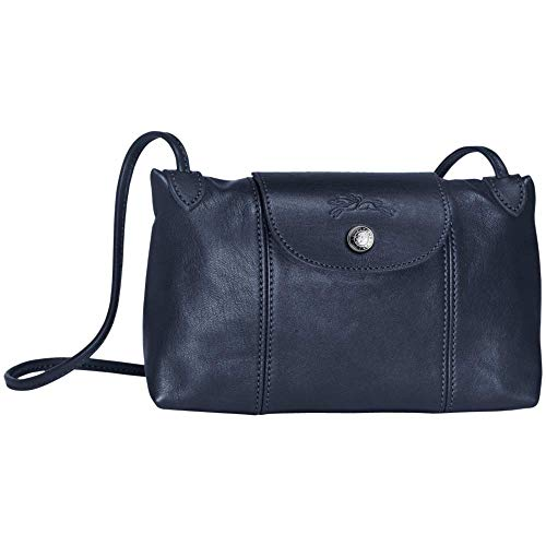 Longchamp Damen Umhängetasche Le Pliage Cuir Leder Marineblau